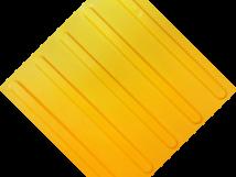 Плитка тактильная, ПВХ, жёлтая, на самоклеящейся основе, с линейным расположением рифов, размеры 300 x 300 мм