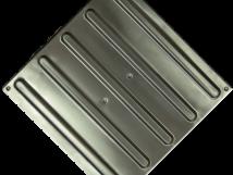 Плитка тактильная из стали AISI-304 с продольными рифами, размер 300x300 мм