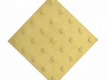 Плитка тактильная из высокопрочного бетона с линейным расположением конусных рифов, цвет жёлтый, 300x300 мм