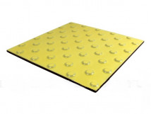 Плитка тактильная керамическая с шахматным расположением конусов для обозначения непреодолимого препятствия на пути следования, желтая, 300х300 мм