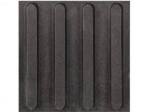 Плитка тактильная керамогранит с продольным расположением рифов, чёрный цвет, размер 300х300 мм