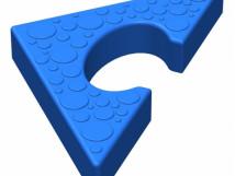 Объемная напольная мозайка. Треугольный элемент 10707. 180 x 180 x 30мм