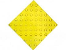Плитка тактильная жёлтая, полиуретан, на самоклеящейся основе, с шахматным расположением конусов, размеры 300 x 300 x 4мм