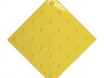 Плитка тактильная ПВХ, желтая, с линейным расположением конусов, размер - 300 x 300 x 4 мм