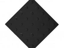 Плитка тактильная полиуретановая, линейное расположение конусов, цвет чёрный, 300x300х4 мм
