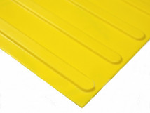 Плитка тактильная полиуретановая, жёлтая, продольное расположение рифов, 300 x 300 x 4 мм