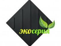 Плитка тактильная, полиуретан (экосерия), чёрная, диагональнальные полосы, размер 300x300 мм
