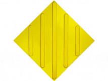 Плитка тактильная ПВХ, диагональное расположение рифов, жёлтая, размер 300x300x4 мм