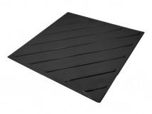 Плитка тактильная полиуретановая, диагональное расположение рифов, цвет чёрный, 500x500x4 мм