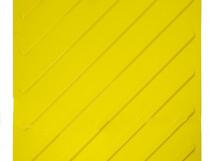 Плитка тактильная ПВХ жёлтая с диагональным расположением рифов. Размер 500x500x4 мм