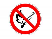 P 02 Запрещается пользоваться открытым огнем и курить